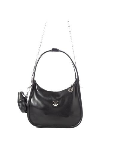 TH Bags TH Bags 2THCW2020081 Fermuarlı Cüzdanlı Mat Kadın Omuz Çantası Siyah